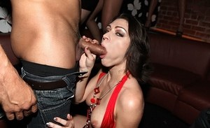 Party going chicks give lucky guys oral sex inside the club