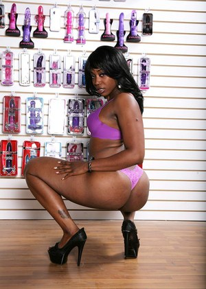 Black pornstar Royalty gets banged and jizzed on after visiting a sex toy shop
