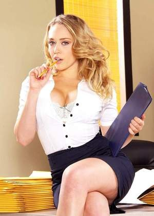Leggy secretary Kagney Linn Karter gets naked at work instead of filing papers