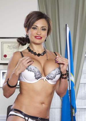 Hot MILF Claudia Valentine removes her judge's robes in her office