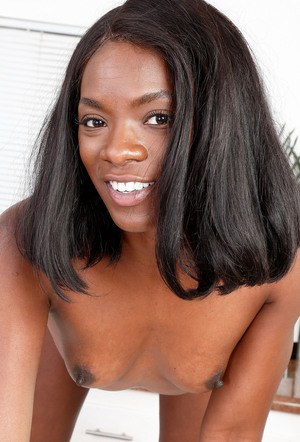 Black chick Ana Foxxx hikes up her lingerie to display her ink twat