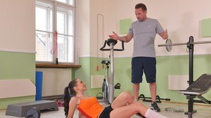 Fit teen girl Sasha Rose seduces her personal trainer after pumping iron