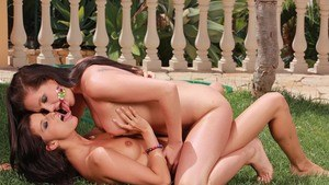 Sexy chicks Megan and Sandra Shine go lesbian out on the lawn