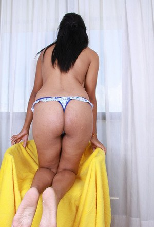 Black chick Morgan Michele showcases her shaved pussy after lingerie removal