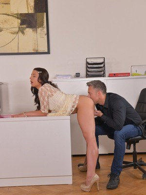 Barely legal intern Therese Bizarre gets fucked and filled with jizz by the CO