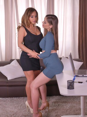 Hot females Angelica Heart & Dorothy Black go lesbian for the first time
