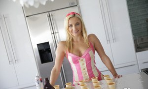 Hot blonde chick Jade Amber douses her naked self with whip cream