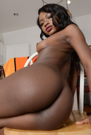 Black dime Noemie Bilas works her phat ass after she gets naked