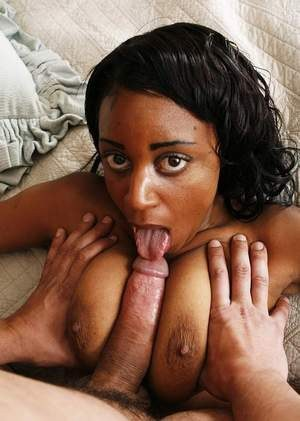Chubby ebony female pleasures a cock with a tit fuck and blowjob combo