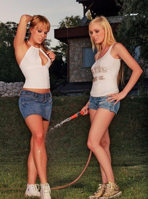 Housewives Blue Angel and Szofya Cox have lesbian relations in back yard
