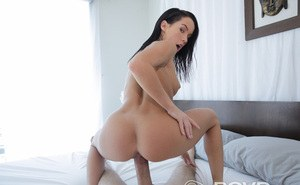 Nude chick with really dark hair gets banged hard in bed