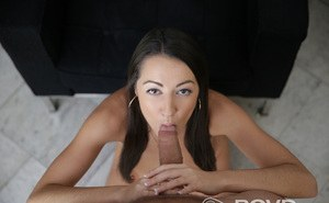 Nude brunette girl Lily Adams sucks on a large dick in POV mode