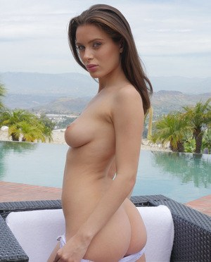 Teen solo girl Lana Rhoades releases her nice tits and ass from sheer clothes