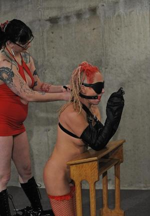 Lesbians spicy up their sex life with kinky lezdom games in a basement dungeon