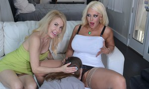 2 older women go gaga over a younger boy and his massive dick