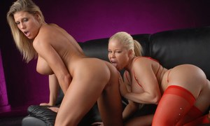 Blond lesbians Nikki Delano & Charisma Cappelli proceed to remove red lingerie