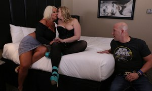 BBW pornstars Alura Jenson & Lila Lovely do a threesome with their fuck buddy