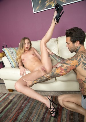 Teen girl Sydney Cole gets introduced to rough sex on a leather chesterfield