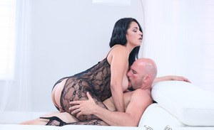 Latina female Cristal Caraballo gets banged in a crotchless bodystocking
