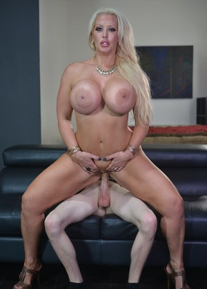 Blonde chick Alura Jenson seduces a guy with her massive tits