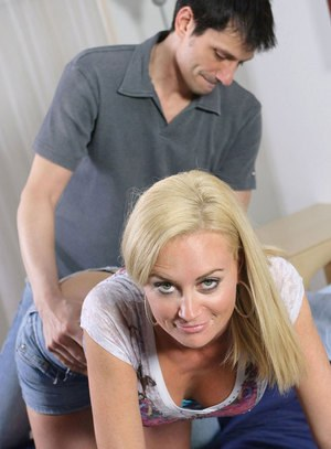 Older blond lady Camryn Cross and her boy toy revel in rough sex games
