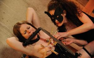 Dominant female in a masquerade mask tortures a restrained woman