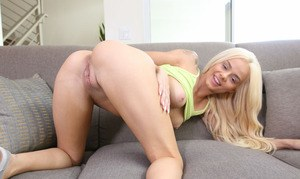 Young girl Elsa Jean wiggles out of her shorts and panties to show her twat