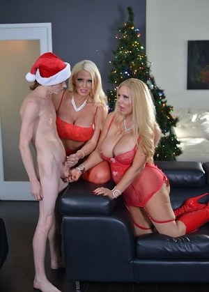 Big boobed blondes Karen Fisher & Alura Jenson give a guy in a Santa hat a BJ