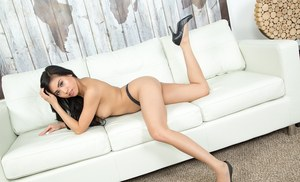 Asian solo model Ember Snow strips off her dress and pretties to pose nude