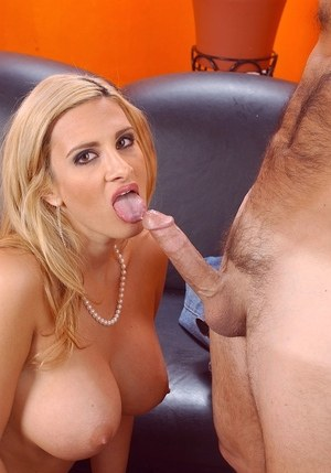 Busty Latina female Ava Ramon sucks off a dick in the nude