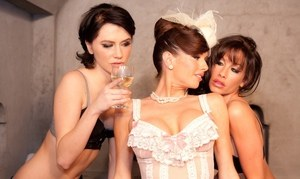 3 lesbians help each other out of sexy lingerie in a hot tub