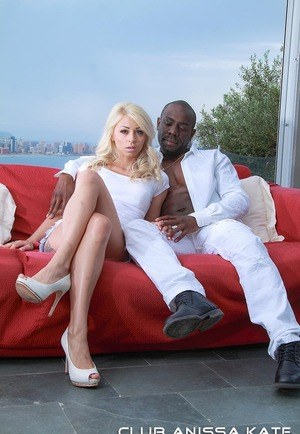 Blonde chick Chloe Lacourt takes it up the ass from a big black dick