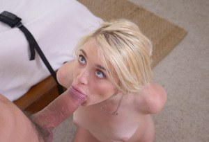 Naked blonde chick Anastasia Knight gets jizz on her face while sucking cock