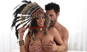 Busty Latina chick Ariella Ferrera dons native attire for a fuck session