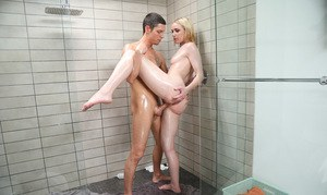 Wet chick Maddi Winters gets banged in a shower stall by a large dick