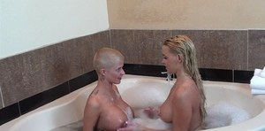 Pornstars Savannah Steele & Joslyn James have wet and messy dyke sex in tub
