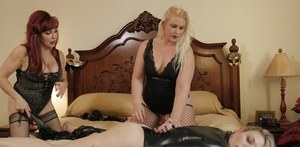 2 older dykes use their younger female slave however they wish