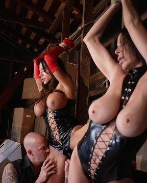 Latina female Ariella Ferrera and her gf are used in a dungeon